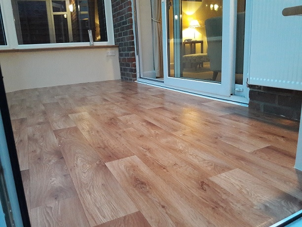 wood oak effect vinyl in conservatory, worthing